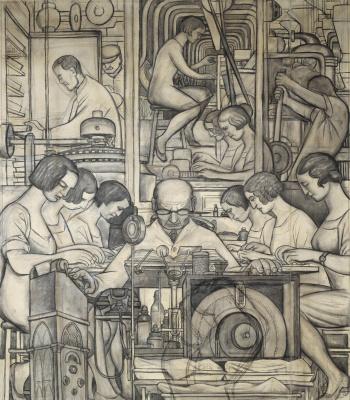 """Диего Ривера. Подготовительный рисунок к фреске """"Фармацевтика"""""""