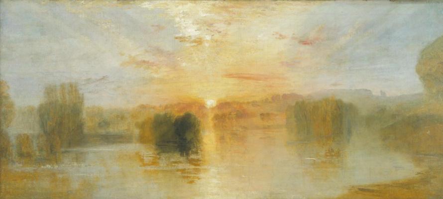 Джозеф Мэллорд Уильям Тёрнер. Петуорт, закат на озере. Примерный этюд