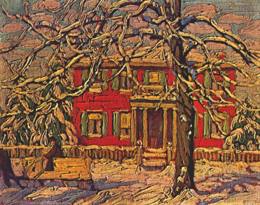 Lauren Harris. Red house and yellow sleigh