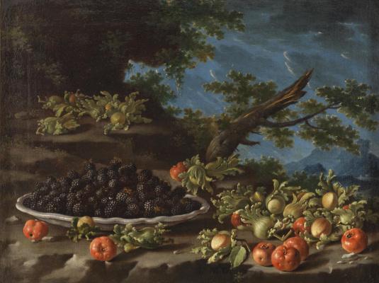 Луис Мелендес. Натюрморт с тарелкой ягод и лесными орехами на фоне пейзажа