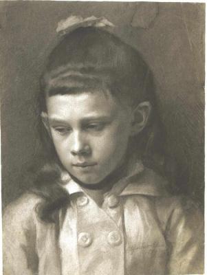 Густав Климт. Портрет девочки с чуть повернутой головой