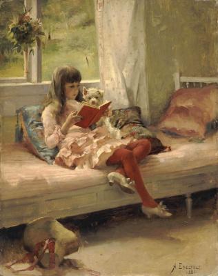 Albert Gustav Aristide Edelfelt. Good friends. Portrait of artist Bertha Edelfelt's sister. 1881