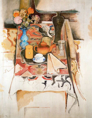 Balthus (Balthasar Klossovsky de Rola). Still life with a lamp and a blue vase