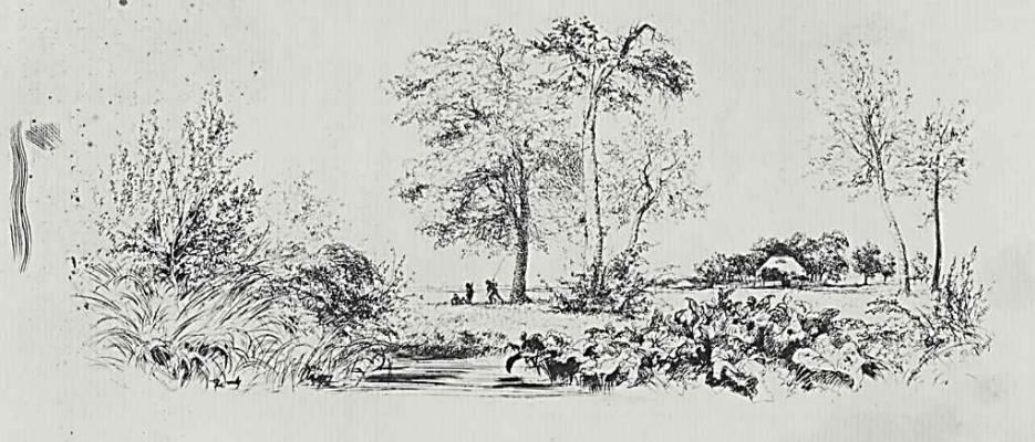 "Adolf Friedrich Erdmann von Menzel. A series of ""Experiments in etching"" [02], Landscape with a swamp, the first state"