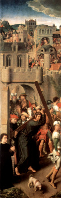 Hans Memling. The carrying of the cross. Altar of the passion (Triptych Greverud). Left wing