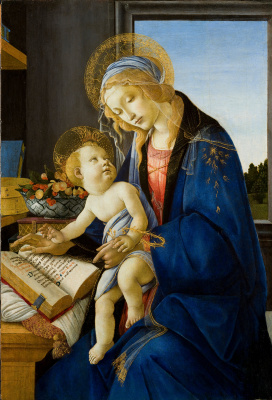 Sandro Botticelli. Madonna and child with book