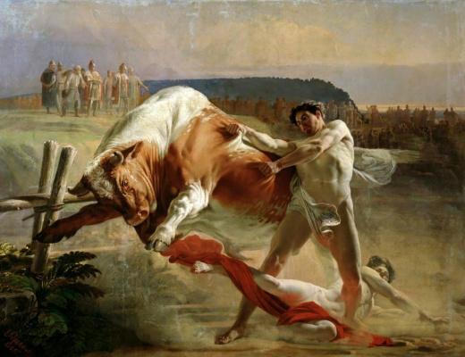Evgraf Semenovich Sorokin. Ian UNMOVIC holding the bull