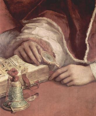 Raphael Santi. Portrait of Pope Leo X with cardinals Giulio de ' Medici and Luigi dei Rossi. Fragment