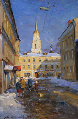 Alexander Victorovich Shevelyov. Evening in Rybinsk. Oil on canvas 33,8 # 50,8 cm 2013