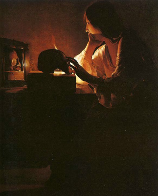 Georges de La Tour. Woman in the mirror