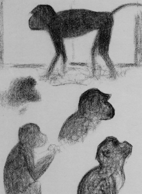 Georges Seurat. Five monkeys