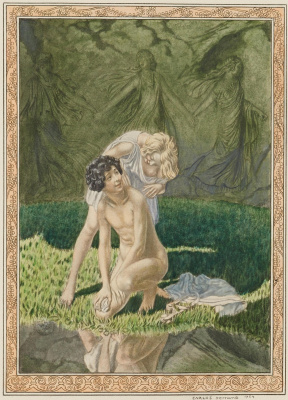 "Carlos Schwabe. Illustration for the novel long, ""Daphnis and Chloe"" lithograph 1926"