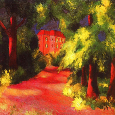 August Macke. Red house in a Park