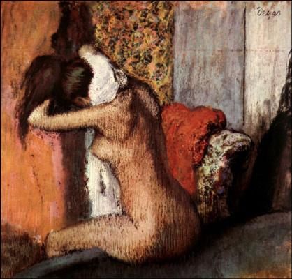 Эдгар Дега. После ванны, женщина вытирает затылок