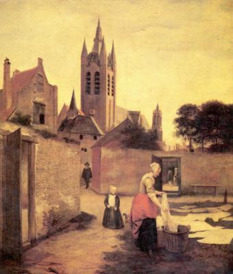 Pieter de Hooch. A woman with a child in the meadow whitens linen