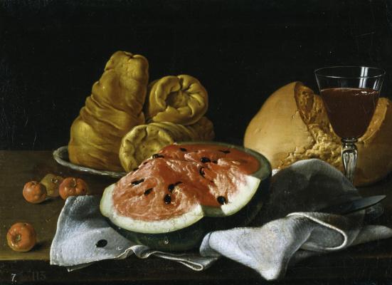 Луис Мелендес. Натюрморт с арбузом и барбадосской вишней, сыром, хлебом и вином