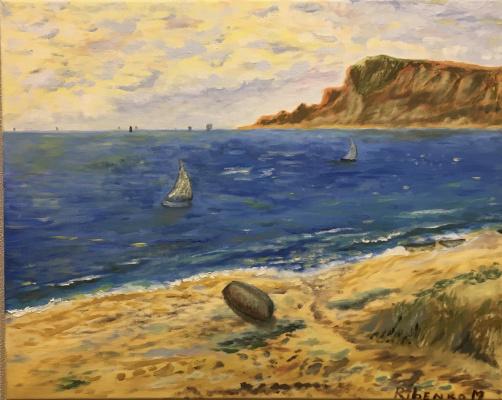 Mihails (Mikhail) Valentinovich Ribenko (Rybenko). Seascape with sailboats