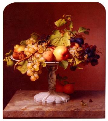 Johann Wilhelm Prairie. Still life with a vase with fruit on a marble table