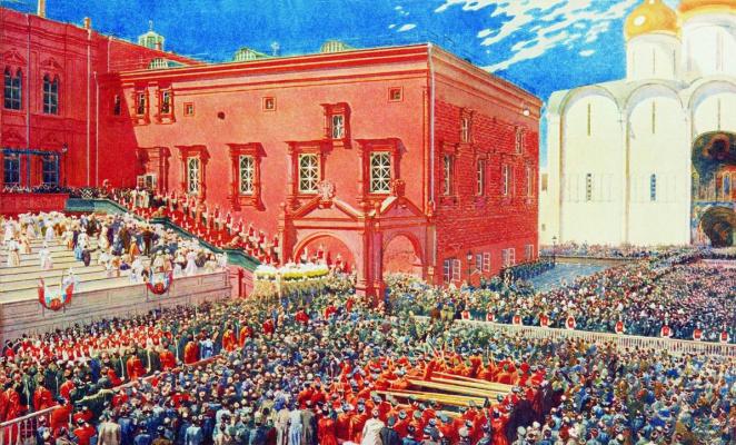 Andrei Petrovich Ryabushkin. Bow from the red porch. Illustration for the coronation album