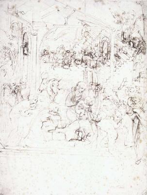 """Leonardo da Vinci. Sketches for """"the Adoration of the Magi"""""""