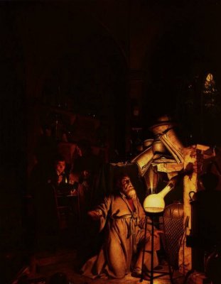 Joseph Wright. The alchemist in search of filosofsko stone