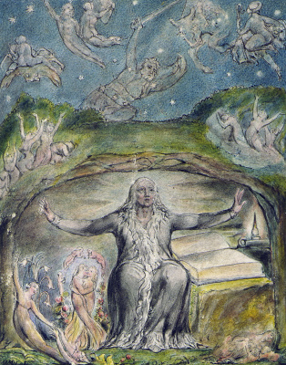 "William Blake. Milton in his old age. Illustrations to the poems of Milton's ""Fun"" and ""Thoughtful"""