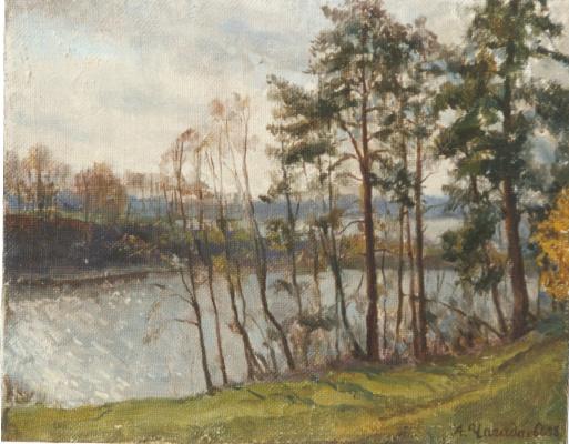 Aleksandr Chagadaev. Pine trees on the shore