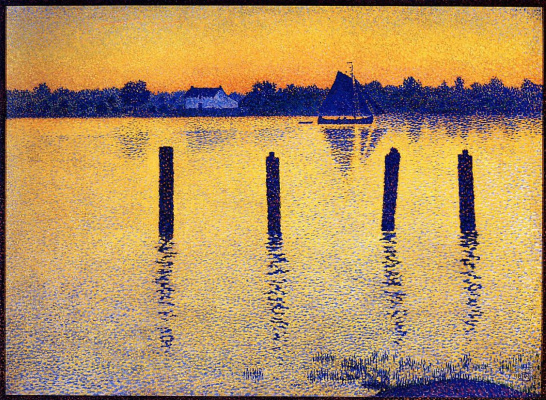 Theo van Rysselberghe. Boats on the river Scheldt