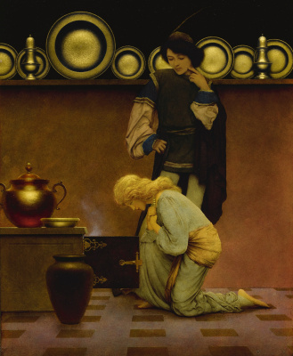 Maxfield Parrish. Lady Violetta and Knave of Hearts at the open stove