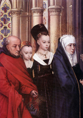 Hans Memling. The presentation in the temple. Fragment