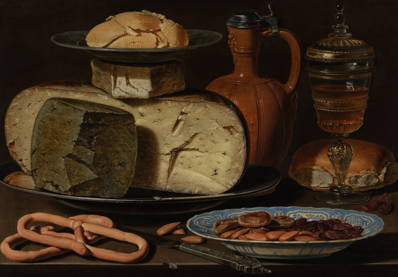 Clara Peeters. Still Life with Cheese, Almond and Pretzels