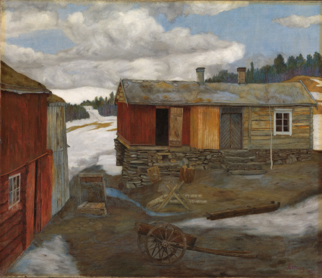 Harald Oscar Solberg. Slush in the yard, Roros