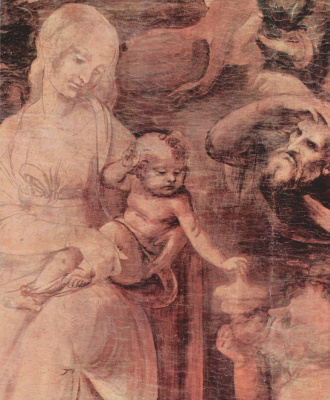 Leonardo da Vinci. The adoration of the Magi (fragment)