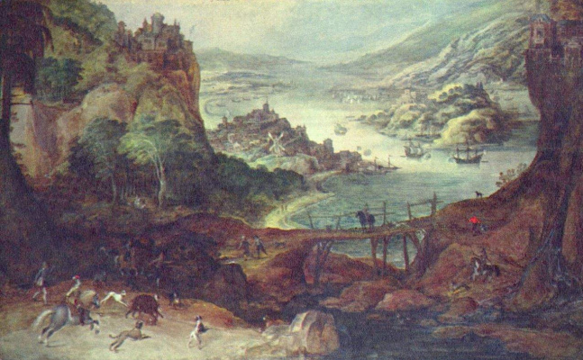 Йос де Момпер Младший. Пейзаж с охотой на кабана