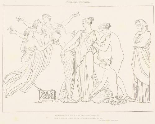 """Уильям Блейк. Иллюстрации к поэме Гесиода """"Труды и дни. Теогония"""". Лист 4. Пандору наряжают"""