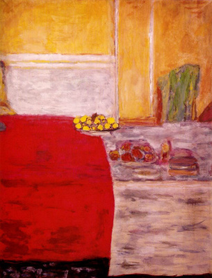 Pierre Bonnard. Fruit on a red tablecloth