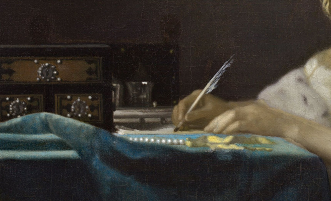 Jan Vermeer. Lady writing a letter. Fragment