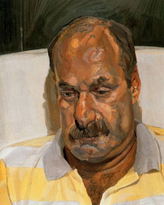 Lucien Freud. Man in sport shirt