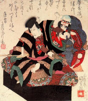 Утагава Кунисада. Актеры кабуки Итикава Данзюро VII и Бандо Зэндзи