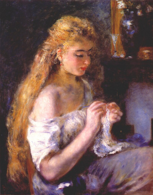 Девушка, вяжущая крючком