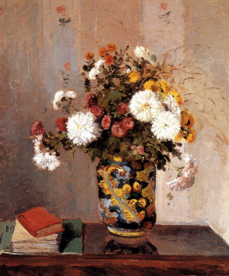 Camille Pissarro. Chrysanthemums in a Chinese vase
