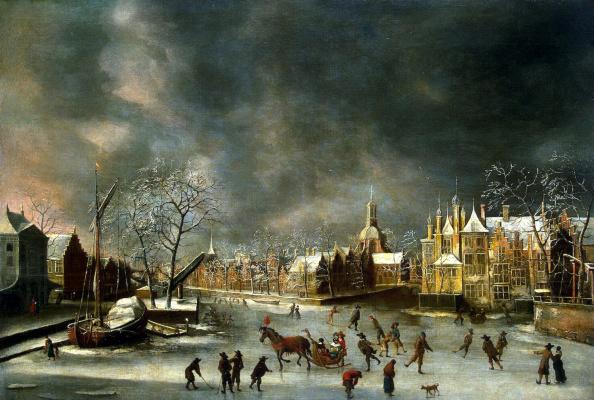 Abraham Bertraten. Winter view of Leiden