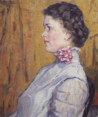 Vasily Ivanovich Surikov. Portrait of an unknown woman on a yellow background