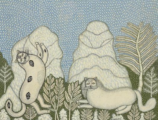 Morris Hirschfield. Cats in the snow