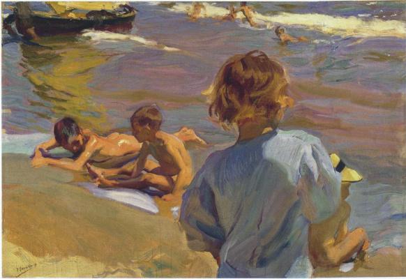 Joaquin Sorolla (Soroya). Children on the beach Valencia