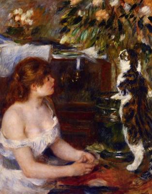Пьер Огюст Ренуар. Молодая девушка с котом