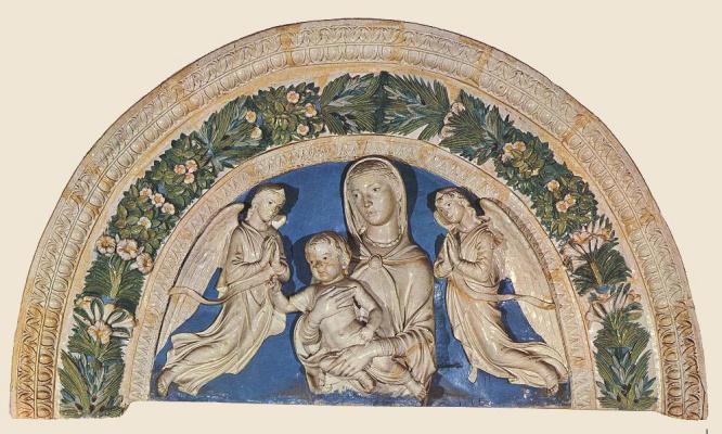 Лука Делла Роббиа. Мадонна с младенцем и ангелами