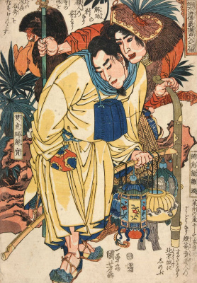 "Utagawa Kuniyoshi. Xie Bao. Double-tailed Scorpion. 108 heroes of the novel ""water margin"""