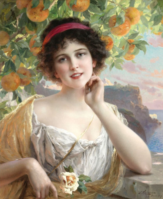 Emile Vernon. Beauty under the orange tree.
