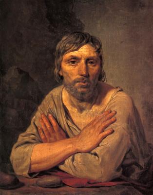 Alexey Gavrilovich Venetsianov. Peasant with crossed hands